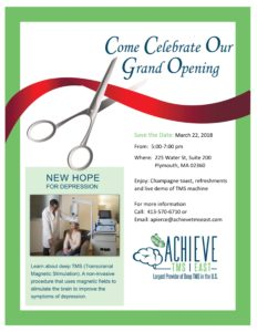 COME CELEBRATE GRAND OPENING OF ACHIEVE TMS EAST IN PLYMOUTH